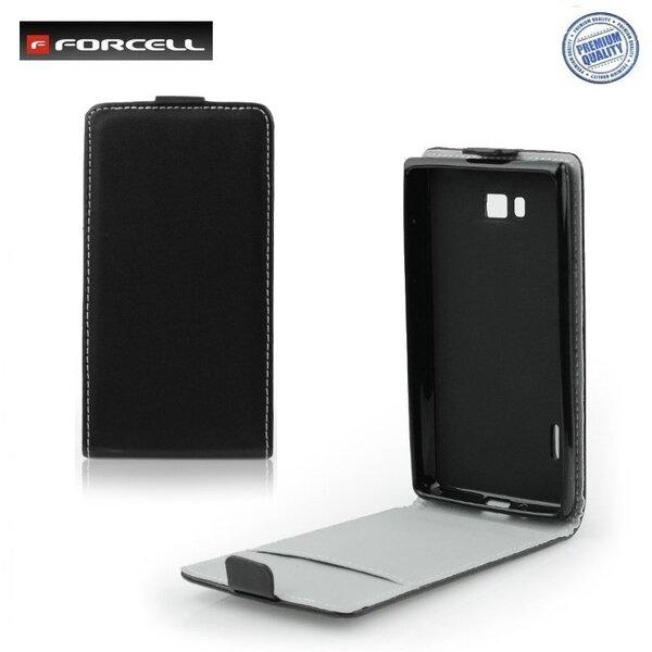 Forcell Flexi Slim Flip LG Optimus L5 E610 vertikāli atverams silikona ietvarā Melns cena un informācija | Maciņi, somiņas | 220.lv
