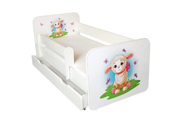 Детская кровать с матрасом, ящиком для постельного белья и съемным барьером Ami 31, 140x70 см цена и информация | Bērnu istabas mēbeles | 220.lv