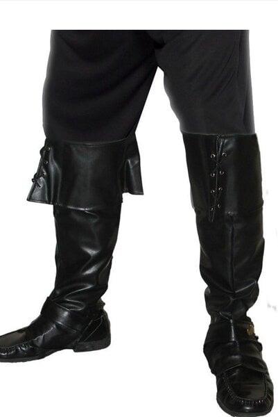 Melni apavi ar ceļgalu atlokiem cena un informācija | Karnevāla kostīmi, maskas un parūkas | 220.lv