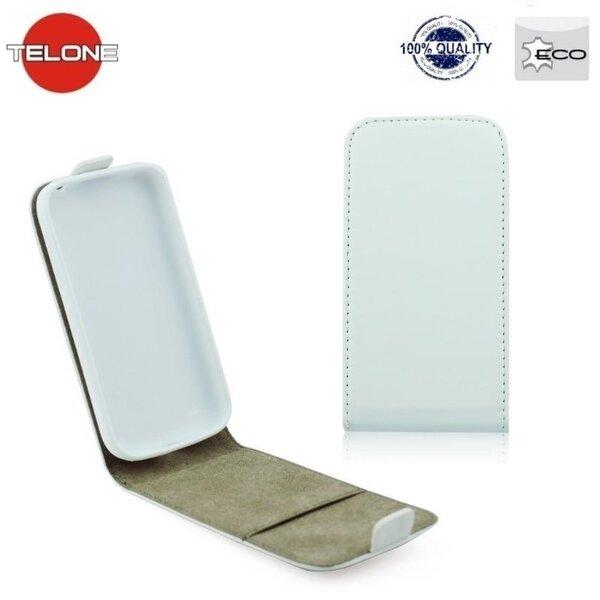 Telone Flexi Slim Flip LG Fino D290n vertikāli atverams silikona ietvarā Balts cena un informācija | Maciņi, somiņas | 220.lv