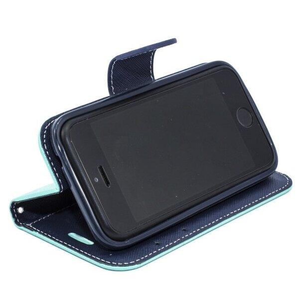 Telone Fancy Diary Book Case ar stendu Apple iPhone 5 5S sāniski atverams Gaiši zils/Zils cena un informācija | Maciņi, somiņas | 220.lv