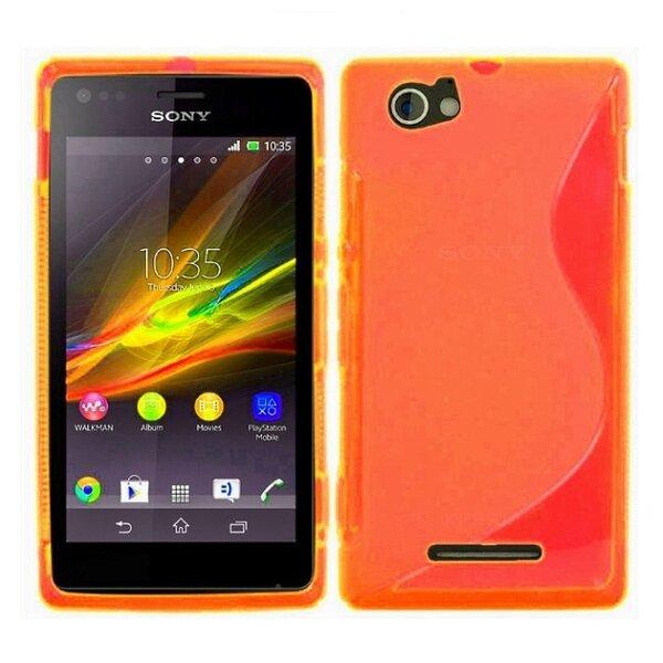 Telone gumijots telefona apvalks Sony Xperia M2 oranžs cena un informācija | Maciņi, somiņas | 220.lv