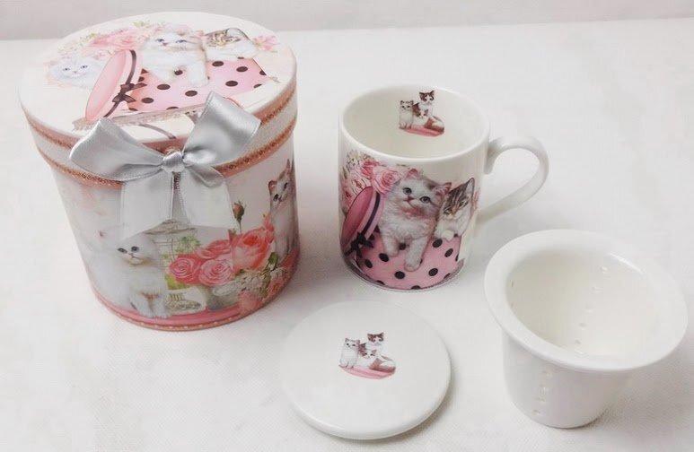 Porcelāna tasīte ar sietu un vāku dāvanu kastē cena un informācija | Glāzes, krūzes, karafes | 220.lv