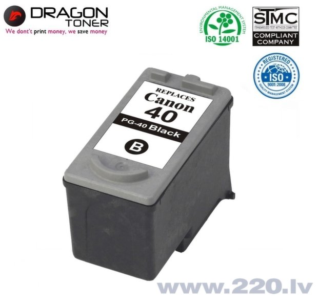 Dragon Canon PG-40 Melns Tintes Kārtridžs 20 ml priekš MP190 MP210 MP220 uc.HQ Premium Analogs cena un informācija | Kārtridži tintes printeriem | 220.lv