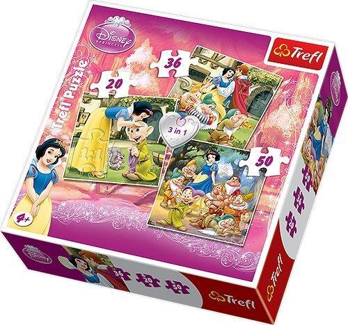 Puzle Trefl Sniegbaltīte 20+36+50 gab cena un informācija | Puzles, 3D puzles | 220.lv