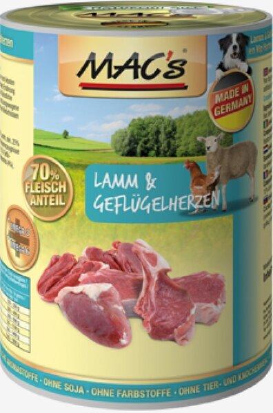 Konservi suņiem Mac's Lamb & Poultry Hearts 400 g cena un informācija | Konservi suņiem | 220.lv