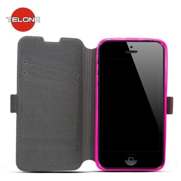 Telone Супер тонкий чехол-книжка со стендом для мобильного телефона Samsung Galaxy J5 (J500F), Розовый цена и информация | Maciņi, somiņas | 220.lv