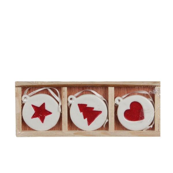 Ziemassvētku eglīšu rotaļlietas, 3 gab. cena un informācija | Ziemassvētku dekori un eglīšu rotājumi | 220.lv