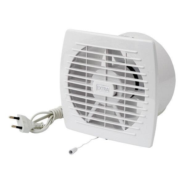 Nosūces ventilators Europlast EXTRA d150mm ar vadu un virvi cena un informācija | Ventilatori vannas istabai | 220.lv