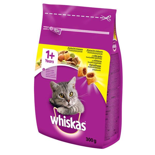 Whiskas 1+ sausā barība ar cāļa gaļu 300 g cena un informācija | Sausā barība kaķiem | 220.lv