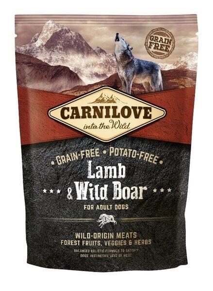 Sausā barība Carnilove Lamb & Wild Boar for Adult 1,5kg cena un informācija | Sausā barība suņiem | 220.lv
