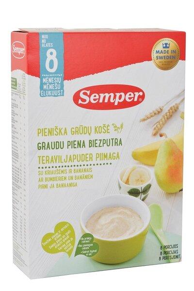 Молочно - пшеничная каша с грушей и бананами Semper, от 8 месяцев., 250 гр цена и информация | Bērna barošana | 220.lv