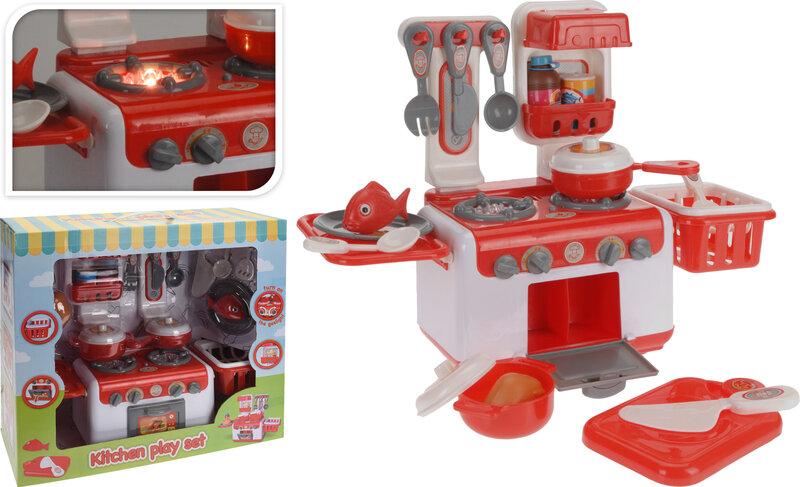 Bērnu virtuve ar piederumiem un gaismas cena un informācija | Lomu spēles | 220.lv