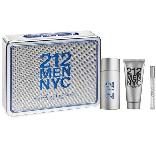 Komplekts Carolina Herrera 212: edt 100 ml + dušas želeja 100 ml + mini cena un informācija | Vīriešu smaržas | 220.lv