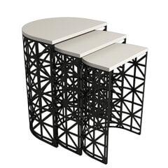 3-ju kafijas galdiņu komplekts Kalune Design 845, smilškrāsas/melns cena un informācija | Žurnālgaldiņi | 220.lv