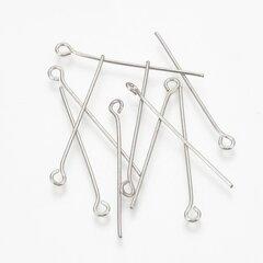 Nerūsējošā tērauda 304 adatas, 40x0,7 mm, ~ 100 gab. cena un informācija | Kniepadatas, adatiņas, drošības adatas | 220.lv