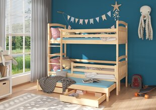 Divstāvu gulta Adrk Furniture Aldo 90x200 cm, gaiši brūna cena un informācija | Bērnu gultas | 220.lv