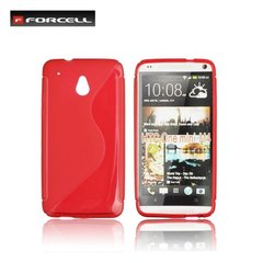 Forcell Back Case S-Line HTC One mini M4 gumijas /plastikāta telefona apvalks Sarkans