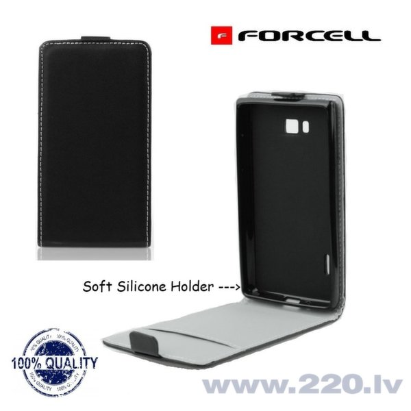 Forcell Flexi Slim Flip чехол для телефона Samsung G350 Core Plus/G3502 Trend 3, Чёрный цена и информация | Maciņi, somiņas | 220.lv