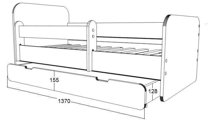 Gulta ar matraci, veļas kasti un noņemamu maliņu Ami 1, 140x70cm internetā