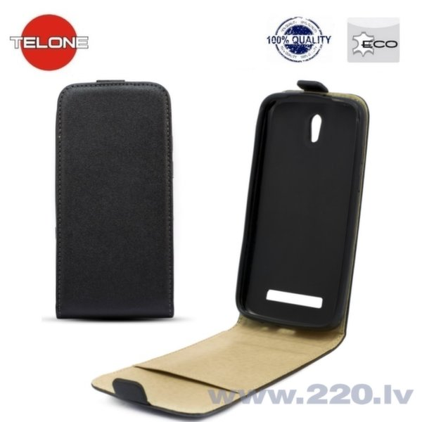 Telone Shine Pocket Slim Flip vertikāli atverams maks telefonam HTC Desire 600, Melns cena un informācija | Maciņi, somiņas | 220.lv