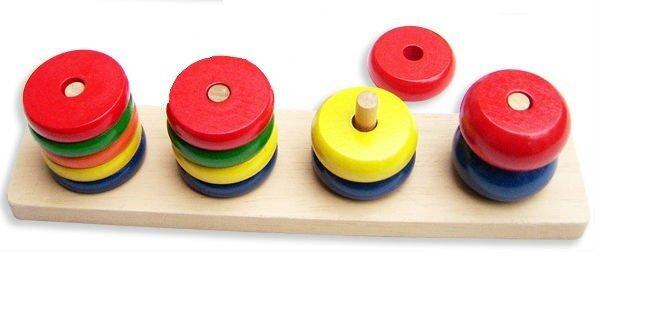 Koka puzles Piramīdas apļi cena un informācija | Rotaļlietas zīdaiņiem | 220.lv
