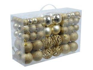 Ziemassvētku eglītes bumbiņu komplekts, 100 gab., zelta cena un informācija | Ziemassvētku dekori un eglīšu rotājumi | 220.lv