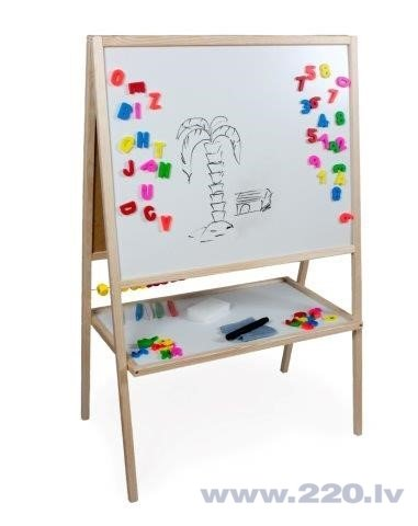 Bērnu koka magnētiskā tāfele 3 Toysm MBU cena un informācija | Zinātniskās un attīstošās spēles, komplekti radošiem darbiem | 220.lv