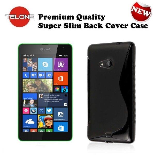 Telone Back Case S-Case gumijots telefona apvalks Microsoft Lumia 535 Melns cena un informācija | Maciņi, somiņas | 220.lv