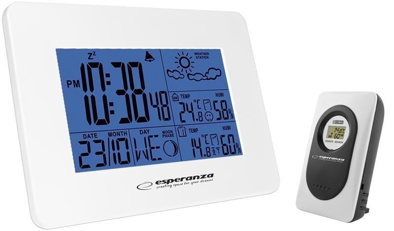 Multifunkcionāla meteostācija ar bezvadu ārējo sensoru Esperanza EWS102W cena un informācija | Termometri (Meteostacijas) | 220.lv