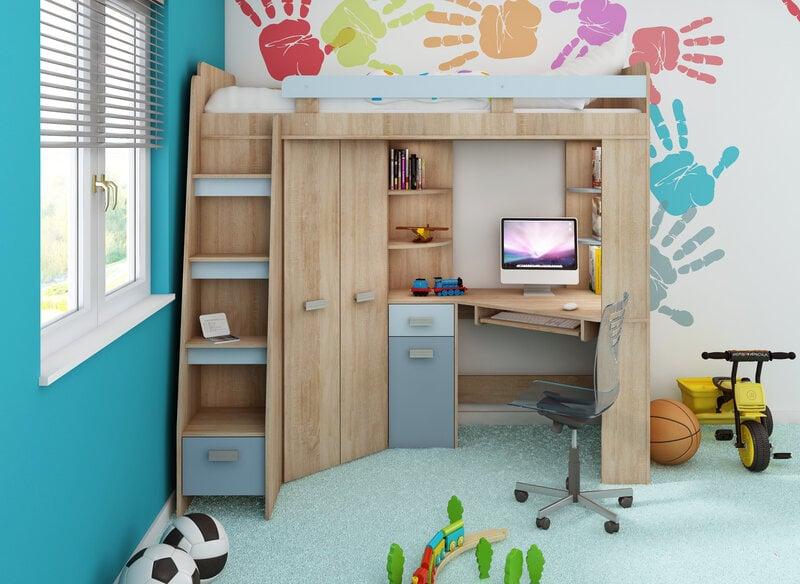 Bērnu istabas komplekts: divstāvu gulta, skapis, rakstamgalds ANTRESOLA L cena un informācija | Komplekti guļamistabai | 220.lv