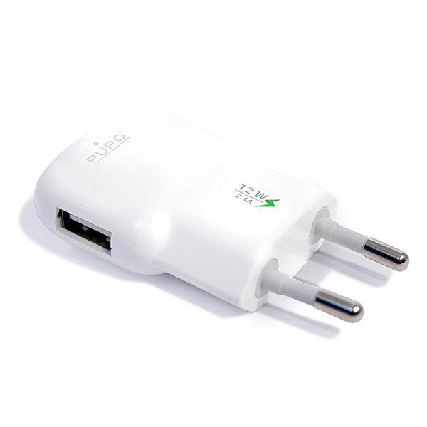 Universāls lādētājs Puro MTCUSB24WHI 2.4A mini ceļojumu lādētājs, Balts cena un informācija | Lādētāji un savienotājkabeļi | 220.lv