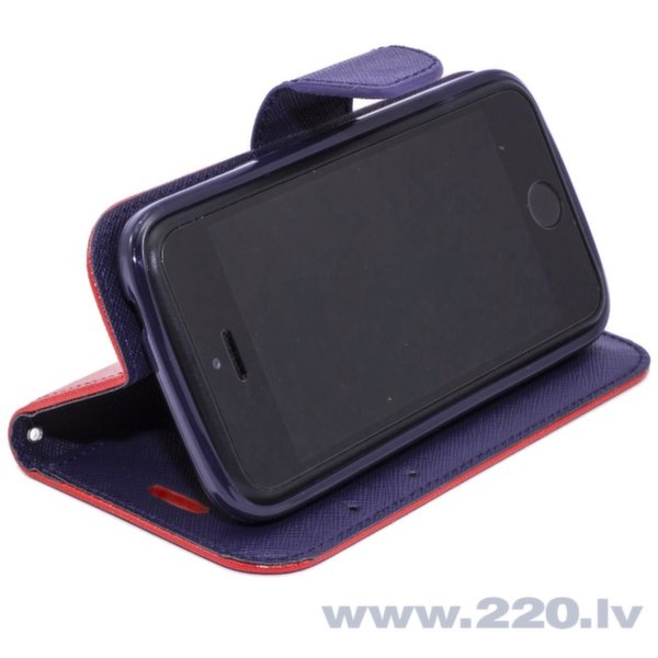 Telone Fancy Diary Book Case ar stendu Samsung G800 Galaxy S5 Mini sāniski atverams Sarkans/Zils cena un informācija | Maciņi, somiņas | 220.lv