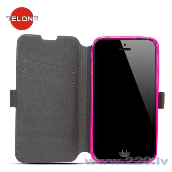 Telone Super plāns sāniski atverams maciņš ar stendu Samsung A500 Galaxy A5 Rozā cena un informācija | Maciņi, somiņas | 220.lv