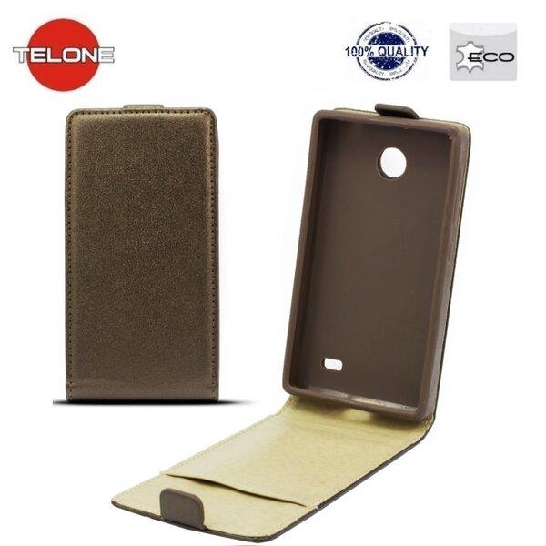 Vertikāli atverams mobilā telefona maciņš Telone Shine Pocket Slim Flip Case LG L90 (D405), brūna cena un informācija | Maciņi, somiņas | 220.lv