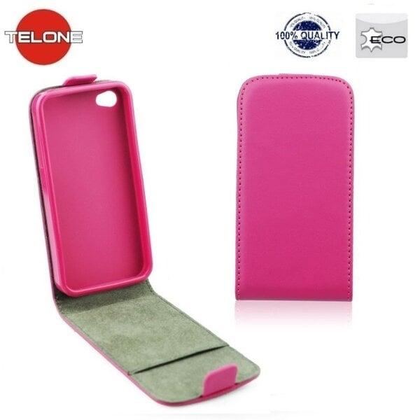 Telone Flexi Slim Flip LG F70 vertikāli atverams silikona ietvarā Rozā cena un informācija | Maciņi, somiņas | 220.lv