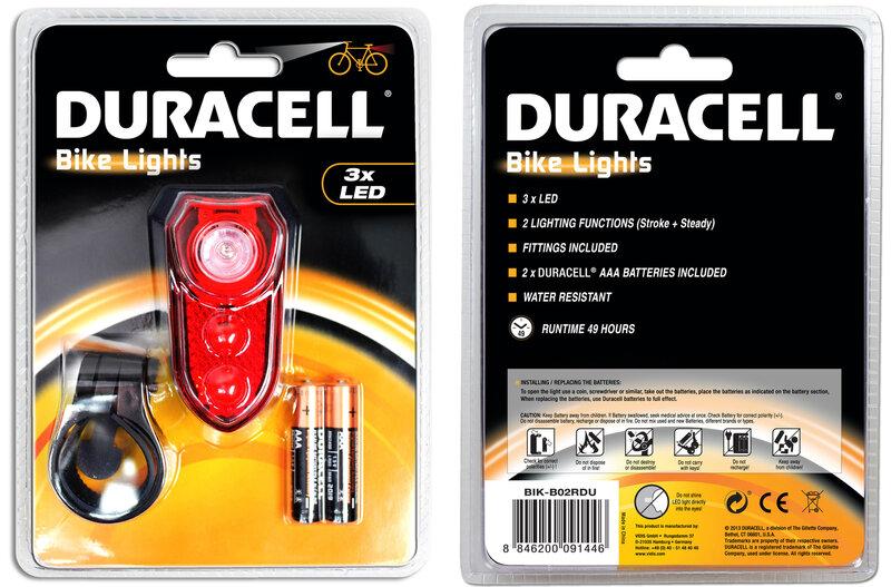 Velosipēdu lukturis Duracell Bikelight, sarkans cena un informācija | Velosipēda piederumi | 220.lv