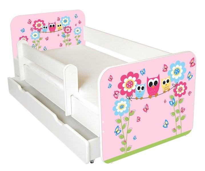 Детская кровать с матрасом, ящиком для постельного белья и съемным барьером Ami 54, 140x70 см цена и информация | Bērnu istabas mēbeles | 220.lv