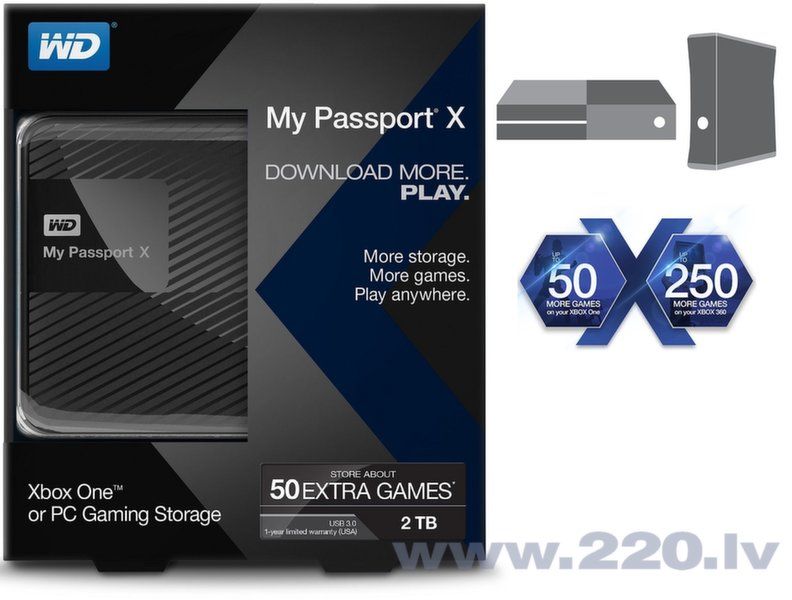 "Western Digital 2TB My Passport X 2.5"" USB3.0 Xbox ONE un Xbox 360 цена и информация 