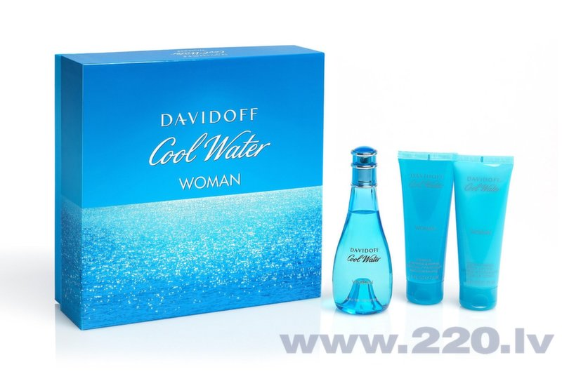 Комплект Davidoff Cool Water Woman: edt 100 мл + гель для душа 75 мл + лосьон для тела 75 мл цена и информация | Sieviešu smaržas | 220.lv