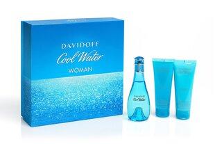 Komplekts Davidoff Cool Water Woman: edt 100 ml + dušas želeja 75 ml + ķermeņa losjons 75 ml
