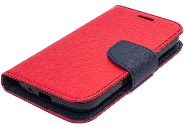 Telone Fancy Diary Book Case ar stendu HTC One M9 sāniski atverams Sarkans/Zils internetā