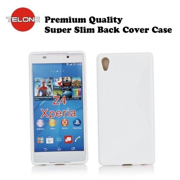 Telone Back Case S-Case gumijots telefona apvalks Sony E6553 Xperia Z4 Balts cena un informācija | Maciņi, somiņas | 220.lv