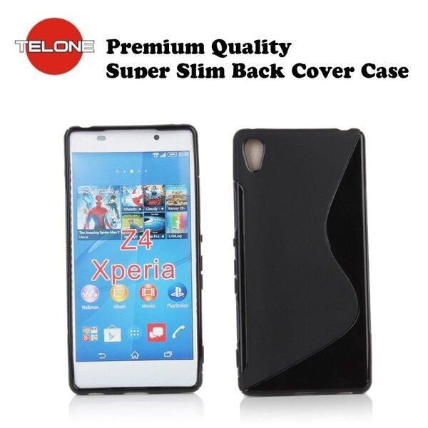 Telone Back Case S-Case gumijots telefona apvalks Sony E6553 Xperia Z4 Melns