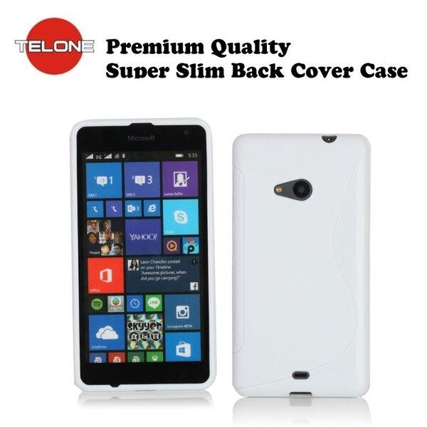 Telone Back Case S-Case gumijots telefona apvalks Microsoft Lumia 535 Balts cena un informācija | Maciņi, somiņas | 220.lv