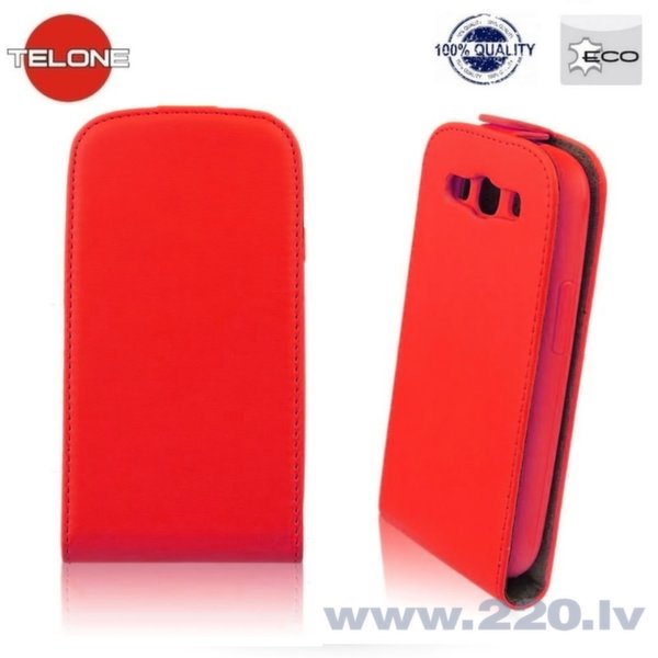 Telone Flexi Slim Flip Sony Xperia E4 vertikāli atverams maks silikona ietvarā Sarkans cena un informācija | Maciņi, somiņas | 220.lv