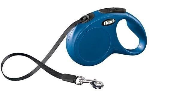 Suņu pavada FLEXI Classic S 5m, zila cena un informācija | Pavadas, apkakles, siksnas suņiem | 220.lv