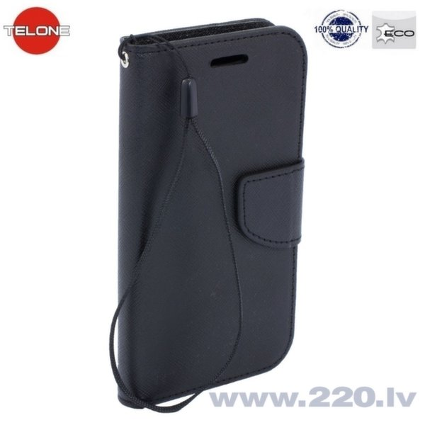 Telone Fancy Diary Book Case ar stendu Apple iPhone 4 4S sāniski atverams Melns cena un informācija | Maciņi, somiņas | 220.lv