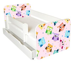 Bērnu gulta ar matraci, veļas kasti un noņemamu maliņu Ami 53, 140x70cm cena un informācija | Gultas bērniem | 220.lv