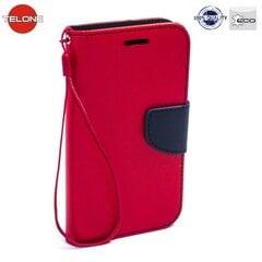 Sāniski atverams maciņš Telone Fancy Diary Book Case ar stendu priekš Huawei P8 Sarkans/Zils